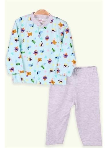 Breeze Bebek Pijama Takımı Desenli Yeşil (0-3-4 Ay) Yeşil